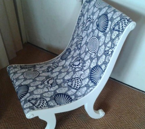 Blue and white patterened chair