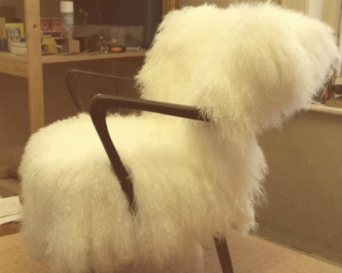 Fluffy white chair